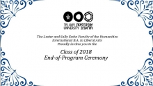 The International B.A. in Liberal Arts: Class of 2018 - End-of-Program Ceremony